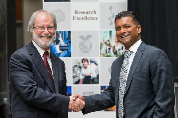 McMaster University President Patrick Deane and Cisco Canada President Nitin Kawale