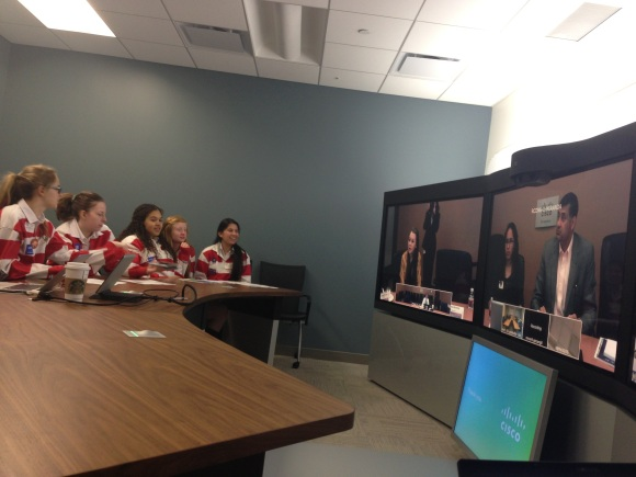 Students from Trafalgar Castle speak with students in Richardson, Texas, via Cisco TelePresence