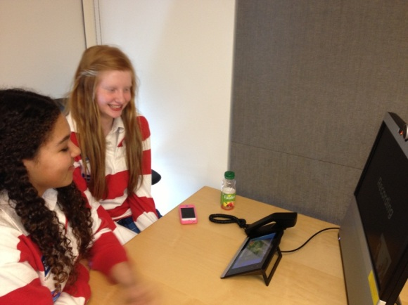 Two Trafalgar Castle students record their thoughts on Girls in ICT Day
