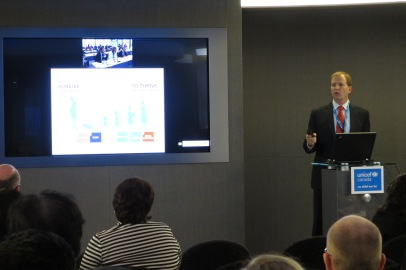 David Morely, President and CEO of UNICEF Canada, addresses attendees via Cisco TelePresence at UNICEF's AGM.