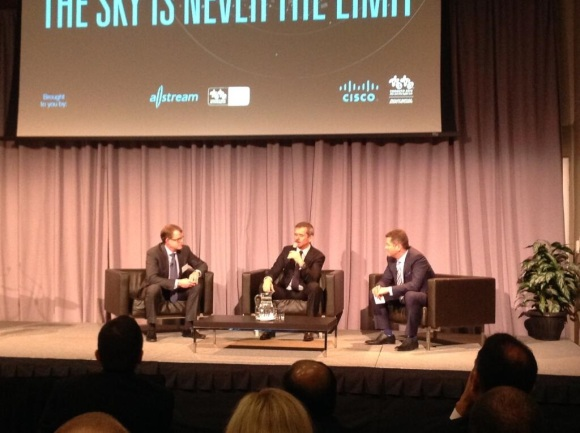Left to right: Cisco Canada's Mike Ansley, Cmdr Chris Hadfield and Allstream's Mike Stroble. Photo courtesy of Allstream.