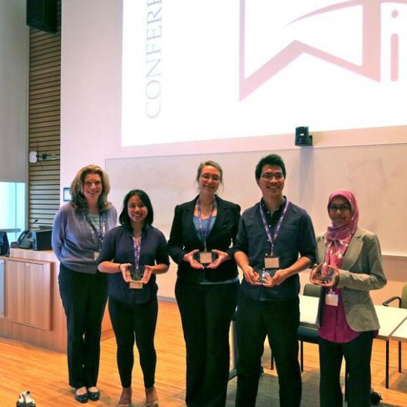 Winning team WISE +1 accepting their award (L-R): Trina Alexson from Cisco with Monina Cepeda, Anna Kotlov, Nico Poblete Valenton and Saaliha Farah Khadim. Not pictured: Tiffany Ongtenco.
