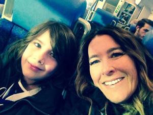 Kimberley Behnan and Tye Behnan on their way to Tye's first hockey game!